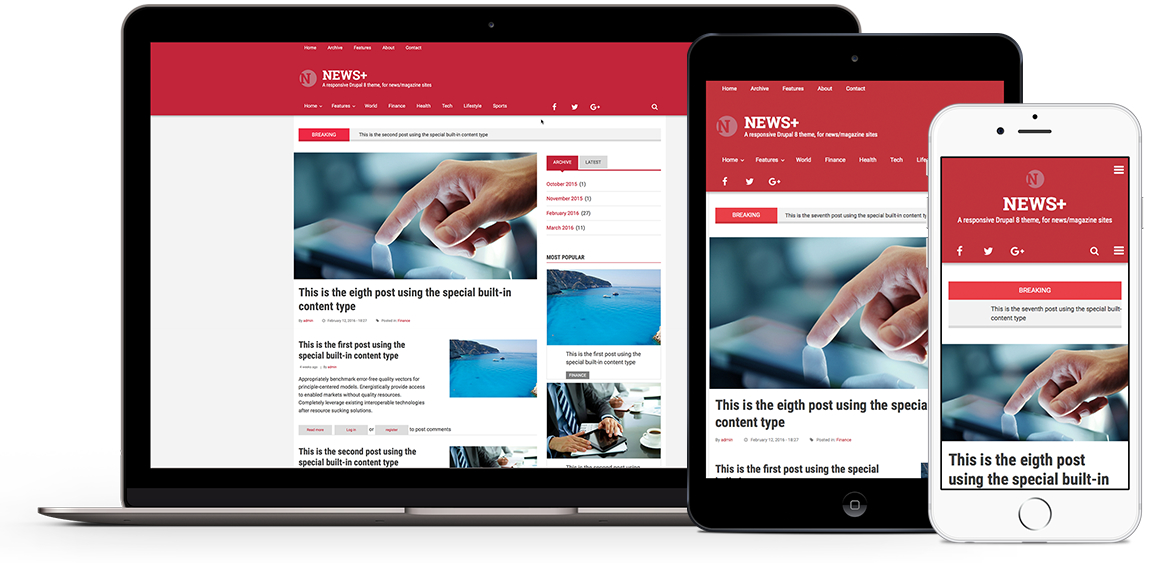 News+, premium theme for Drupal 8