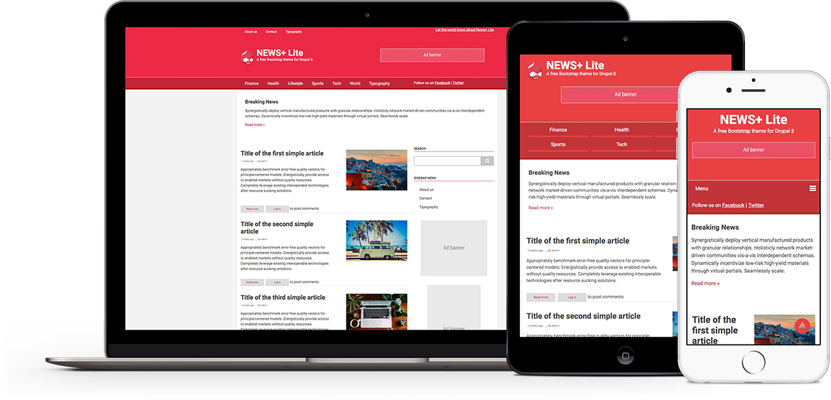 News+ Lite free theme for Drupal 8