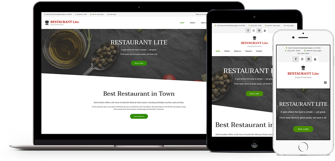 Restaurant Lite theme for Drupal 8