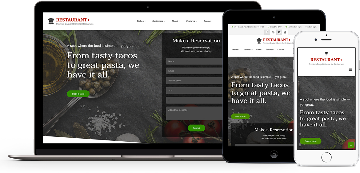 Restaurant+, premium stylish theme for Drupal 8