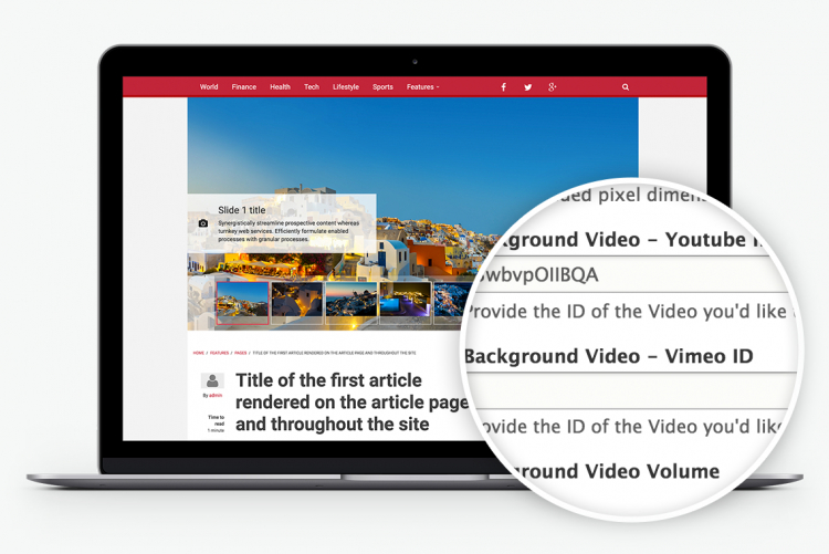 Support for slideshow video and bundled with a reusable Video Gallery Custom Block type