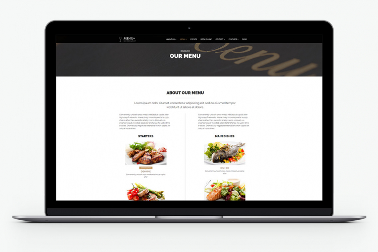 A Views page collecting all Dish nodes and presenting your menu in a nice way, in Menu+