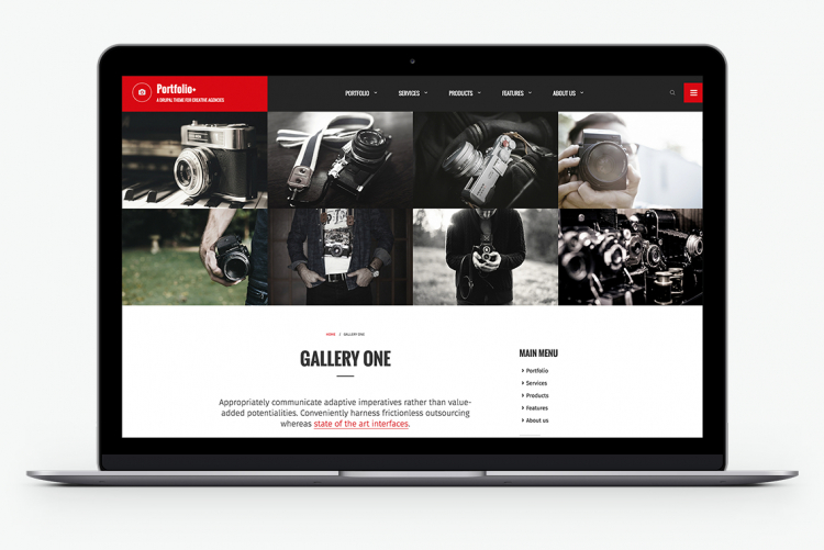 Full-width image galleries to showcase your creative work
